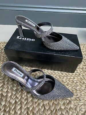 Pewter/silver Diamonte Mules Dune Size 39/6 Shoes • 15£