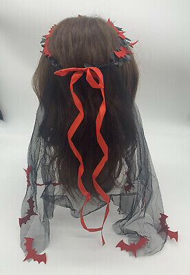 Zombie Corpse Bride Veil Hair Band Black Red Bats Halloween Fancy Head Dress New • 4.25£