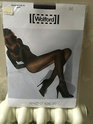 New WOLFORD Velvet De Luxe 50 Tights, Medium In Cordial Colour Unopened/sealed, • 15£