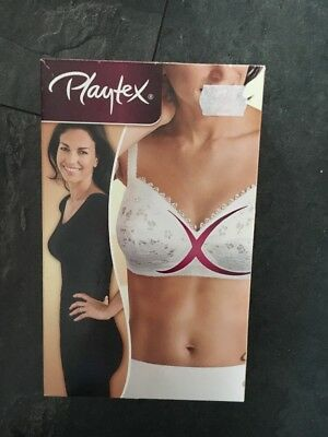 Playtex White Lace Underwired Bra 34 D Cross Your Heart New Boxed Non Wired • 25.99£