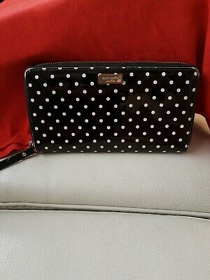 $ CDN60.62 • Buy $128 Kate Spade Neda Camden Black Polka Dot Zip Around Accordion Wallet Clutch