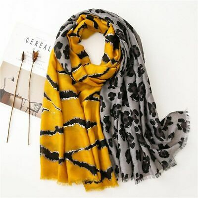 $10.78 • Buy Leopard Printed Beach Scarf Cotton Satin Winter Bandana Shawl Muslim Snood Hijab