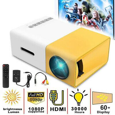 1080P Full HD Mini Home Projector LED Video Theater Cinema USB HDMI AV SD YG300 • 28.99£