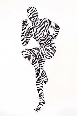 £42.78 • Buy Lycra Body Suit Catsuit With Removable Hood Zebra