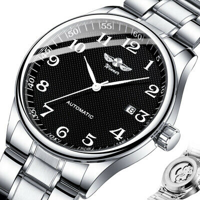 AU32.95 • Buy Automatic Watch Mens Stainless Steel Analog AUTO Date Mechanical Male Wristwatch
