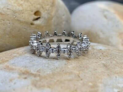 925 Sterling Silver Ring, Pave Eternity Ring, (UK N), Dainty Silver Ring • 15£