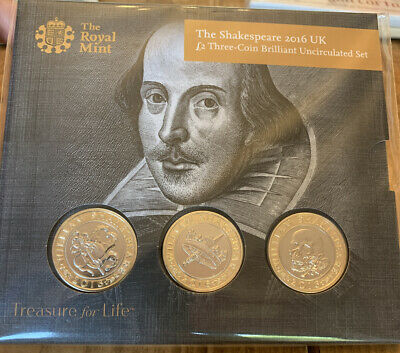2016 Shakespeare Two Pound Coin £2 Presentation Pack, Three Coins,  BU • 31£