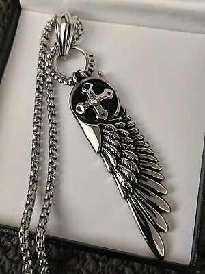 Mens Chunky Gothic Biker Silver Steel Feather Angel Wing Necklace Christmas Gift • 21.99£
