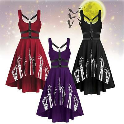 Women Fashion Skeleton Skull Harness Insert High Low Flare Dress Midi Dress • 12.17£