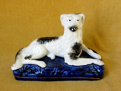 Fine ANTIQUE 'STAFFORDSHIRE DOG'  Dated 1830 Cobalt Blue / Pearlware China Glaze • 32£