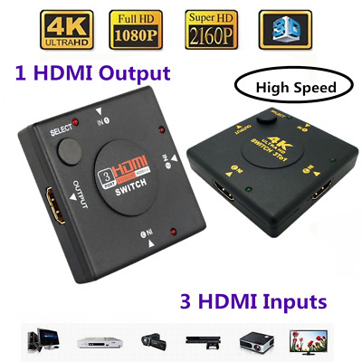 HDMI 3 Port 3 Way Switch AUTO Switcher Splitter Selector Hub Box Cable HDTV UK • 3.21£