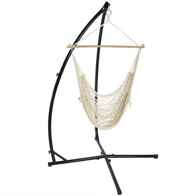Sunnydaze Hanging Cotton Rope Hammock Chair Swing And X-Stand Set - Natural • 105.60£