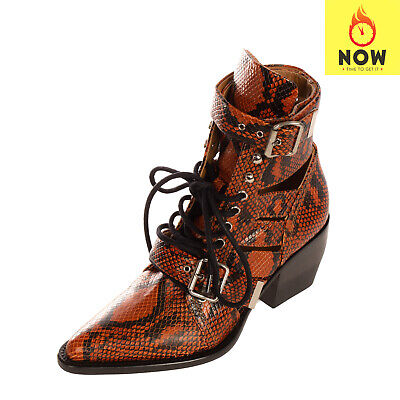 RRP €1325 CHLOE Leather Ankle Boots EU39 UK6 US9 Snakeskin Pattern Made In Italy • 122£