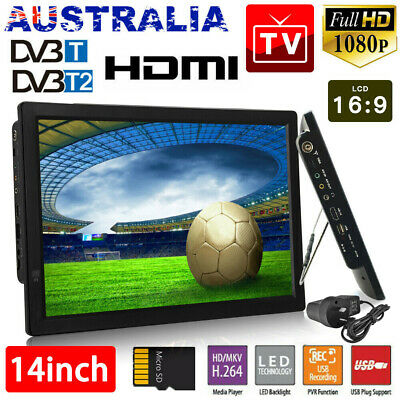 AU149.99 • Buy 14  1080P HD Digital Portable TV HD TFT LED DVB-T2 12V TV Player MP4 MP3 Player