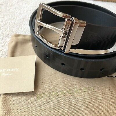 "Burberry Reversible EKD Check Leather Belt (Size 95 /38"") • 250£"