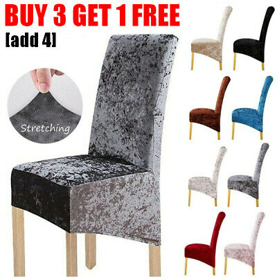 Crushed Velvet Dining Chair Covers Wedding Slipcovers Christmas Party Seat Cover • 8.99£