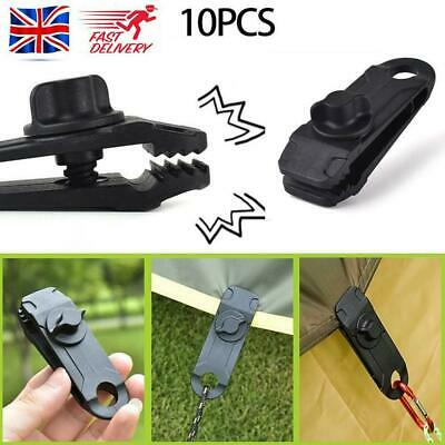 10pcs/set Black Reusable Linoleum Clip Fixed Plastic Clip For Outdoor Tent UK • 6.56£