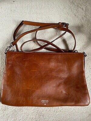 Fossil Tan Leather Cross Body / Clutch Bag New • 13.50£