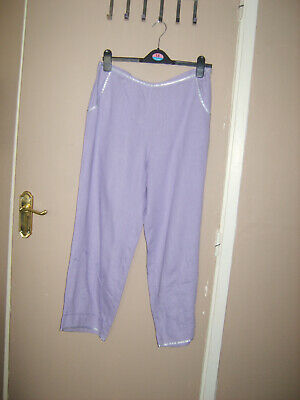 Nwot Pachamama Lilac Linen Embroidered Trousers 32 Waist • 2.99£