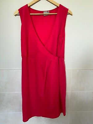 AU22 • Buy Asos Wrap Dress Size 14 Red Pink Button Side Asymmetrical Sleeveless Tie Sash