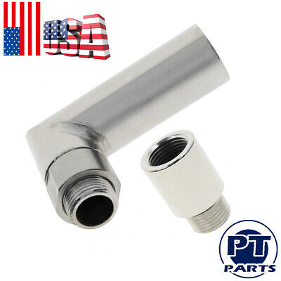$12.19 • Buy M18 X 1.5 02 Bung Extension O2 Oxygen Sensor Angled Extender Spacer 90 Degree