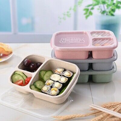 3 Compartments Lunch Box Food Container Storage Boxes Microwave Healthy Portable • 4.89£