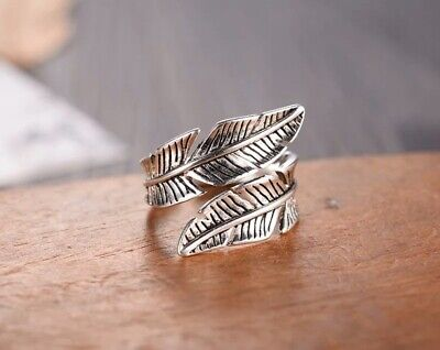925 Sterling Silver Feather Wrap Around Ring, Adjustable Thumb Ring, Bohemian • 12£