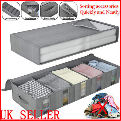 Large Capacity Under Bed Storage Bag Box 5 Compartments Clothes Shoes Organizer • 9.88£