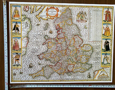 Old Tudor Poster Map Of England & Wales: Speed 1600's 15  X 12  Reprint Antique • 9.99£