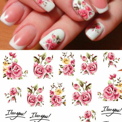 AU2.69 • Buy Valentines Day I Love Your Floral Nail Art Water Transfer Decal Stickers Rose AU