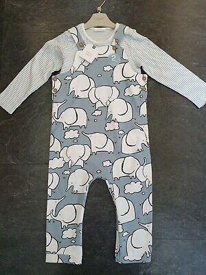 NEXT BABY BOYS ELEPHANT DUNGAREES 12-18 Months NEW WITH TAGS,2 PIECE,OUTFIT,SET • 10.50£