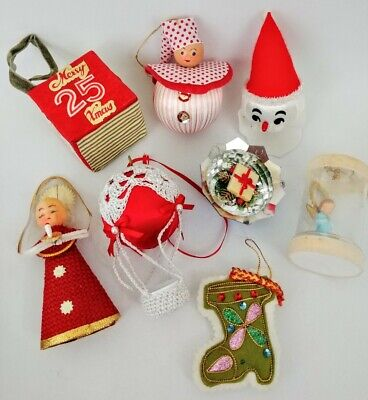 $ CDN16 • Buy Vintage Christmas Ornaments Lot Of 8 Mid Century Modern Kitschy FUN!