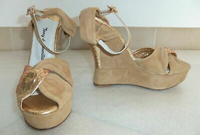 £191.15 • Buy Terry De Havilland Ladies Gold Party Wedges-size 38-new Ex-display-free Postage