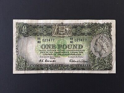 AU15.60 • Buy 1 Pound  Coombs/Wilson 1953 Nice Banknote VF