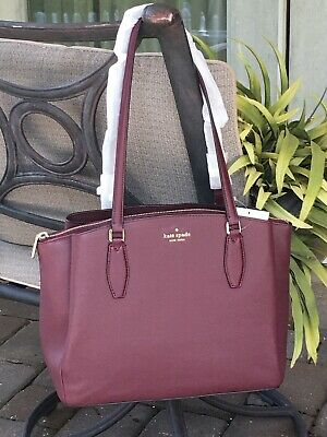 $ CDN210.43 • Buy Kate Spade Monet Large Triple Compartment Tote Shoulder Bag Cherrywood Leather
