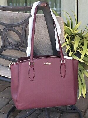 $ CDN220 • Buy Kate Spade Monet Large Triple Compartment Tote Shoulder Bag Cherrywood Leather