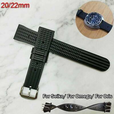 20mm 22mm Waffle Watch Black Rubber Strap For Divers Watch Top Quality • 9.95£