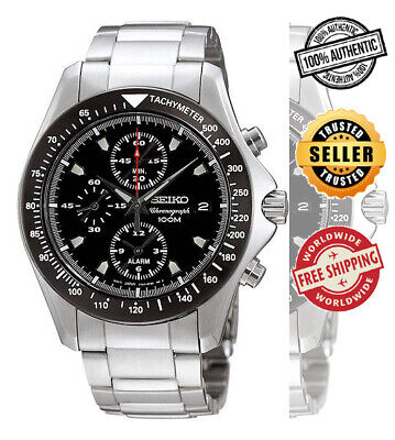 $ CDN226.66 • Buy SEIKO Alarm Chronograph SNA487 SNA487P1 Mens Black Dial Black Bezel 100m Watch
