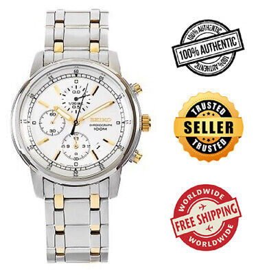 $ CDN173.33 • Buy Seiko Chronograph SNDC29 SNDC29P1 Mens Gold 2 Tone 100m Watch Free Ship