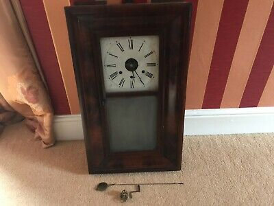 New England American ANTIQUE Chauncey Jerome New Haven 30 HOUR WALL SHELF CLOCK • 59£