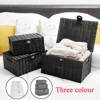 Hamper Storage Basket Small Middle Large Resin Woven Box With Lid & Lock • 13.99£