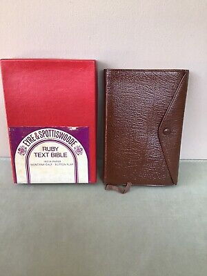 Vintage King James Bible- Eyre & Spottiswoode- Button Flap Montana Calf Leather  • 49.99£