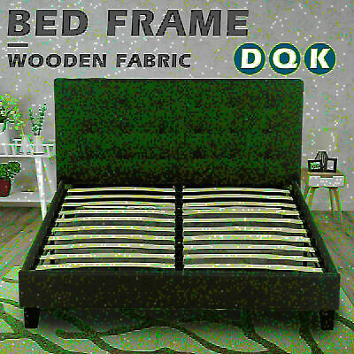 AU139.90 • Buy Bed Frame Single Double Queen King Size Platform Wooden Fabric Mattress Base