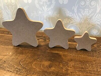 Freestanding 18mm Thick  Large MDF  Rounded Wooden Star Christmas Shape, Crafts • 1.99£