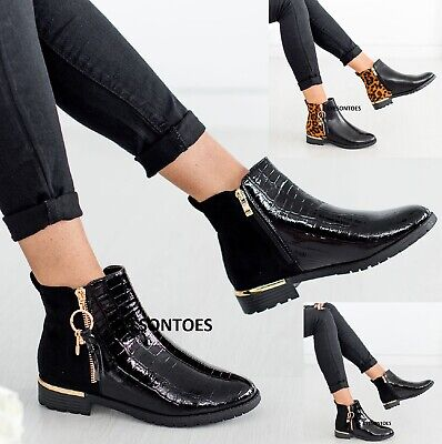 Ladies Patent Zip Flat Casual Womens Chelsea Fashion Croc Office Shoes Boots Sz • 20.99£