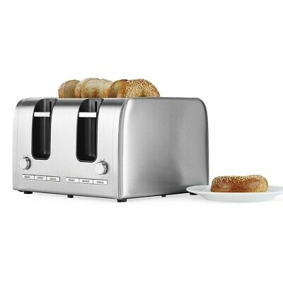 AU69.99 • Buy Contempo New 4 Slice Stainless Steel Toaster Extra Wide Slots Bagel Toaster