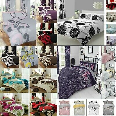Duvet Cover With Pillow Case Quilt Cover Bedding Set Single Double King All Size • 13.99£