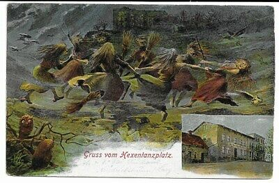 $ CDN50.96 • Buy Vintage German Witches Dancing And Flying On A Besom Witchcraft Helloween C.1920