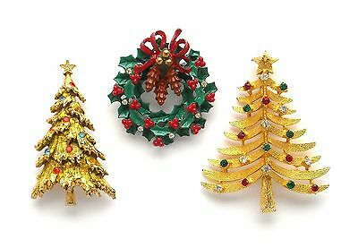 $ CDN87 • Buy Lot Of 3 Christmas Brooches - 1 Signed Art, 2 Unsigned