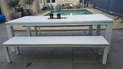 AU315 • Buy Freedom Furniture 3pc Aluminium Outdoor Dining Setting Table & Benches CARNEGIE